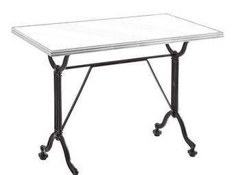 Ardamez - table de repas émaillée blanc / inox / fonte - Table De Repas Rectangulaire