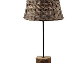 Interior's - lampe bois abat-jour en rotin - Lampe � Poser