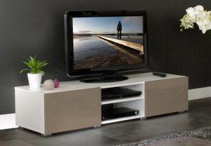 WHITE LABEL - atlantic. meuble tv couleur blanc et taupe laqué b - Meuble Tv Hi Fi