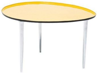 WHITE LABEL - table basse salver jaune. - Table Basse Forme Originale