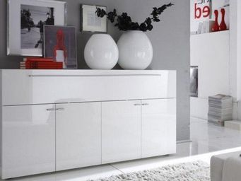 WHITE LABEL - buffet design primera blanc brillant 5 portes - Buffet Bas