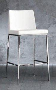 WHITE LABEL - chaise de bar erik en cuir éco blanc, piétement ch - Chaise Haute De Bar