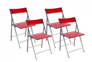 WHITE LABEL - belfort lot de 4 chaises pliantes rouge - Chaise Pliante