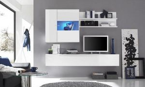WHITE LABEL - composition murale tv design primera 2 blanc brill - Meuble Tv Hi Fi