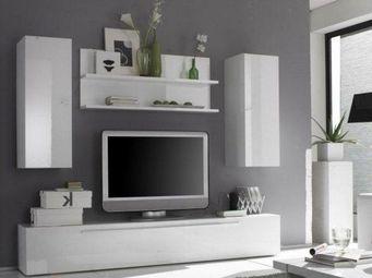 WHITE LABEL - composition murale tv design primera 6 blanc brill - Meuble Tv Hi Fi