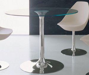 WHITE LABEL - table repas armony en verre et acier chrom�, 100 x - Table De Repas Ronde