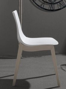 WHITE LABEL - chaise orbital wood design blanche et hêtre blanch - Chaise