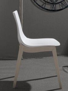 WHITE LABEL - chaise orbital wood design blanche et hêtre blanch - Chaise