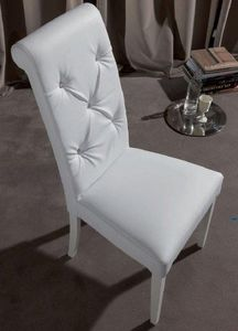 WHITE LABEL - chaise coloniale billionaire en simili cuir blanc  - Chaise