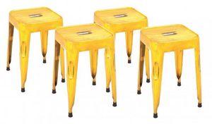 WHITE LABEL - lot de 4 tabourets design melange gelb en acier ja - Tabouret