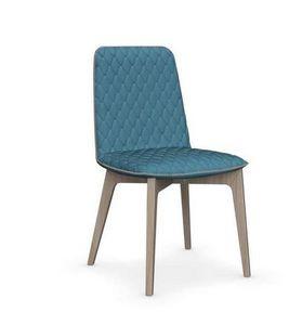 Calligaris - chaise sami en bois naturel et tissu couleur aigue - Chaise