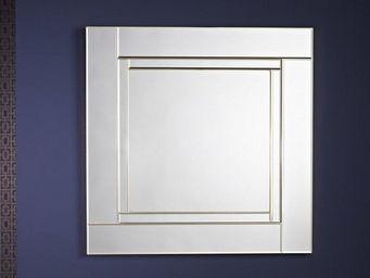 WHITE LABEL - quadran miroir mural design en verre couleur or - Miroir