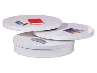 WHITE LABEL - table basse pivotante lana 3 plateaux blanche - Table D'appoint