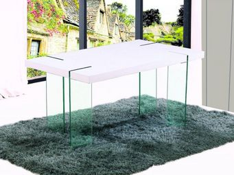 WHITE LABEL - table de repas design scoop blanche, pieds en verr - Table De Repas Rectangulaire