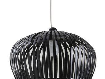 Aubry-Gaspard - abat jour bambou laqué noir - Suspension