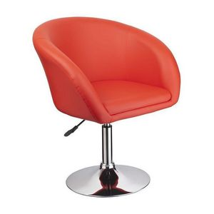 WHITE LABEL - fauteuil lounge pivotant cuir orange - Fauteuil Rotatif