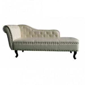 WHITE LABEL - fauteuil canapé méridienne crème - Méridienne