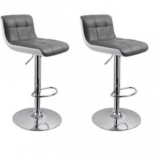 WHITE LABEL - lot de 2 tabourets de bar gris hauteur réglable - Chaise Haute De Bar