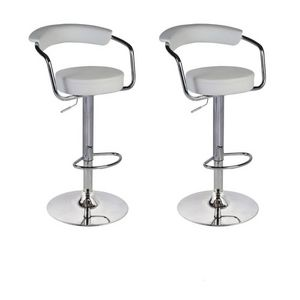 WHITE LABEL - lot de 2 tabourets de bar en cuir pu blanc - Chaise Haute De Bar