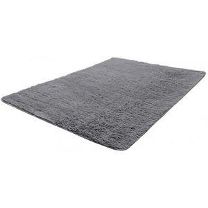 WHITE LABEL - tapis salon gris poil long taille m - Tapis Contemporain