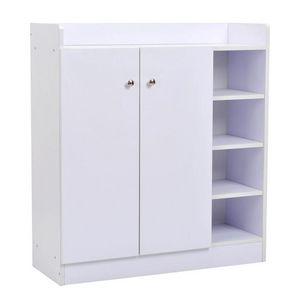 WHITE LABEL - meuble armoire à chaussure bois tiroirs blanc - Meuble À Chaussures