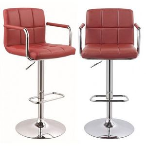 WHITE LABEL - lot de 2 tabourets de bar bordeaux - Chaise Haute De Bar