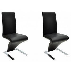 WHITE LABEL - 2 chaises de salle a manger noires - Chaise