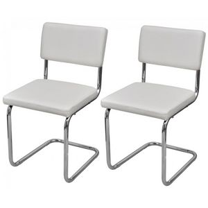 WHITE LABEL - 2 chaises de salle a manger blanches - Chaise