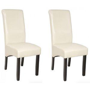WHITE LABEL - 2 chaises de salle à manger crème - Chaise