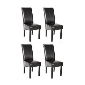 WHITE LABEL - 4 chaises de salle à manger noir - Chaise
