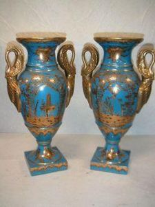 Demeure et Jardin - paire de vases bleues - Vase D�coratif