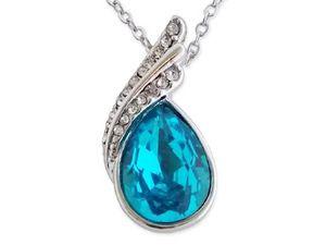 WHITE LABEL - collier avec goutte bleu turquoise et strass bijou - Collier