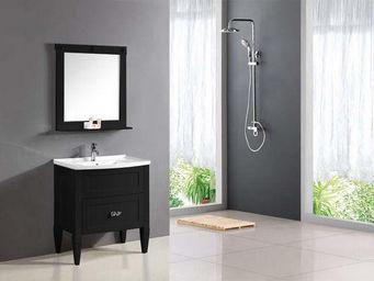 UsiRama.com - ensemble meuble salle de bain charme 80cm noir - Meuble Vasque