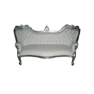 DECO PRIVE - canapé méridienne baroque imitation cuir blanc et  - Canapé 3 Places