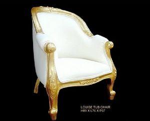 DECO PRIVE - fauteuil de style bois doré et aspect cuir blanc - Fauteuil