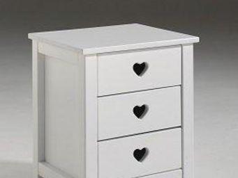 WHITE LABEL - chevet amori blanc 3 tiroirs - Table De Chevet
