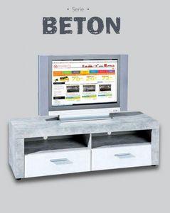 WHITE LABEL - meuble tv 2 tiroirs et 2 niches aspect béton et bl - Meuble Tv Hi Fi