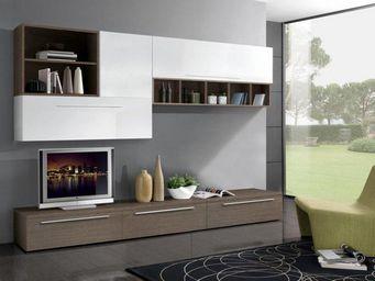 WHITE LABEL - composition murale tv design twist noyer et blanch - Meuble Tv Hi Fi
