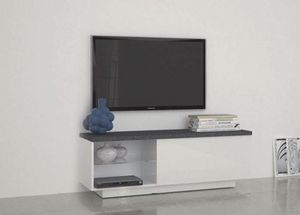 WHITE LABEL - meuble tv design treviso laqué blanc - Meuble Tv Hi Fi