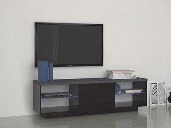 WHITE LABEL - meuble tv3 design treviso 2 tiroirs laqué noir - Meuble Tv Hi Fi