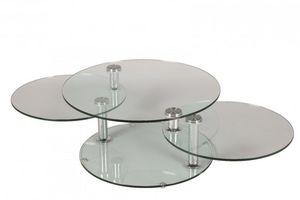 WHITE LABEL - table basse design level ronde double plateaux - Table Basse Forme Originale