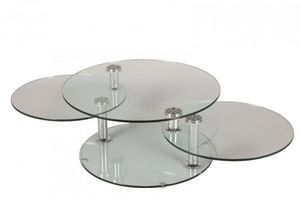 WHITE LABEL - table basse design level ronde double plateaux - Table Basse Forme Originale