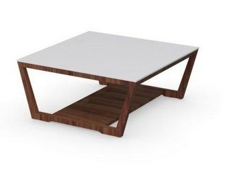 Calligaris - table basse element de calligaris noyer avec plate - Table Basse Carrée