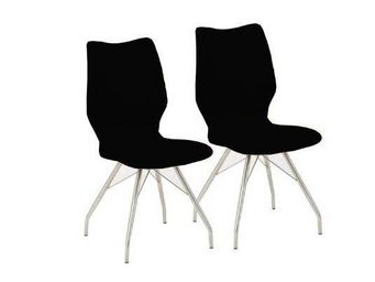 WHITE LABEL - lot de 2 chaises robin design en simili cuir noir  - Chaise