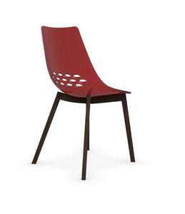 Calligaris - chaise jam w de calligaris rouge transparente piét - Chaise