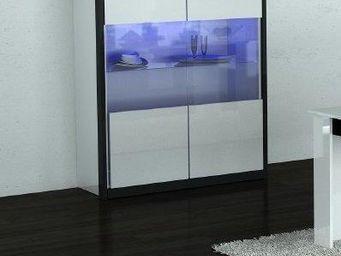 WHITE LABEL - vitrine mito blanche et noir avec 2 portes - Buffet Haut