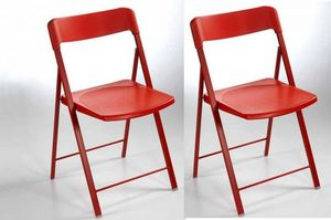 WHITE LABEL - lot de 2 chaises pliantes kully en plastique rouge - Chaise Pliante