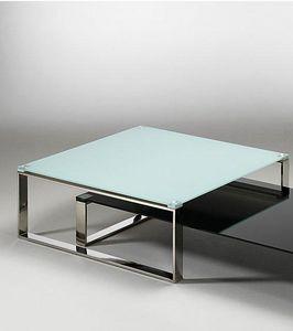 WHITE LABEL - table basse zoe design en verre blanc - Table Basse Carr�e