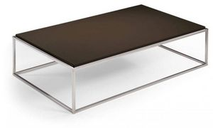 WHITE LABEL - table basse rectangle mimi chocolat - Table Basse Rectangulaire