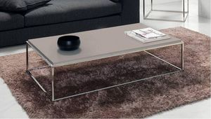 WHITE LABEL - table basse mimi rectangle taupe - Table Basse Rectangulaire